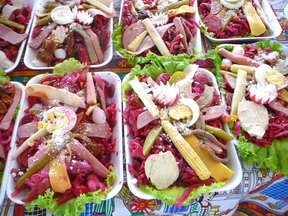 Close-up of fiambre, a cold meat and vegetable salad that's traditionally eaten on dia de los muertos in Guatemala.