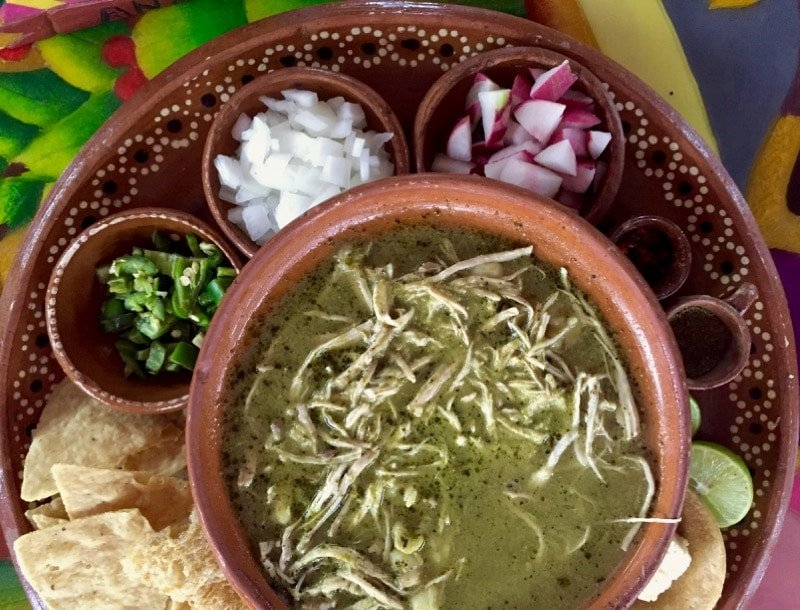 pozole at Any's in Zihuatanejo for Day of the Dead food