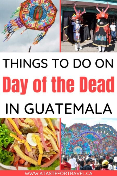A collage of giant kites, Day of the Dead salad and people in devil costumes on Day of the Dead in Guatemala.