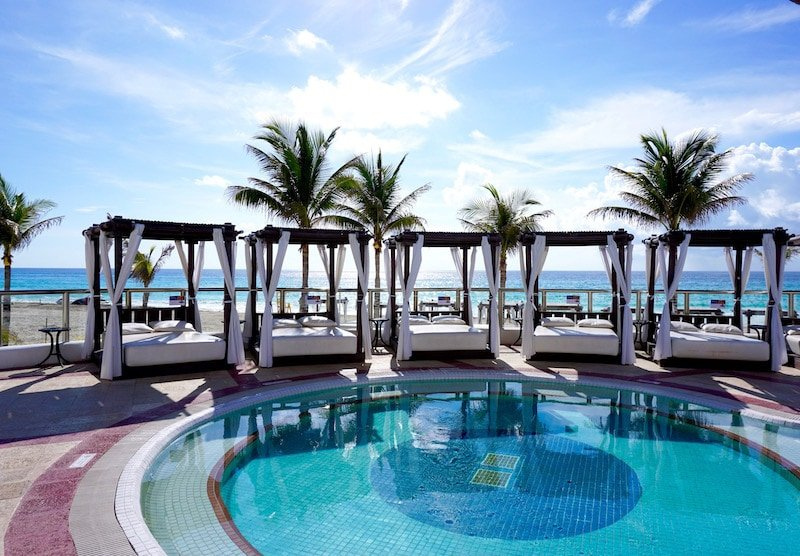 Beach loungers and cabanas at Hyatt Zilara Cancun - best all-inclusive resorts in Cancun