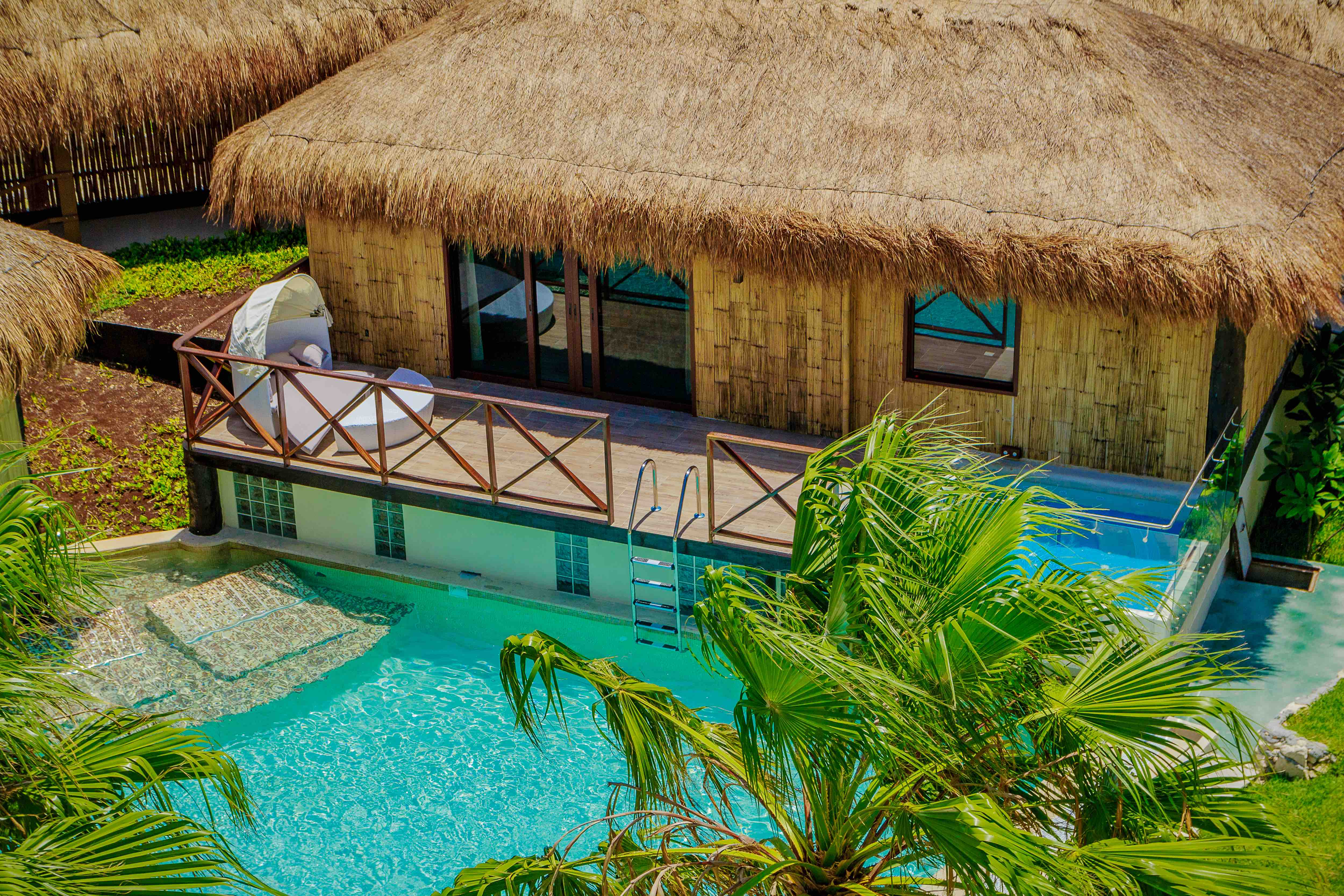 Over the pool cabana at Secrets Silversands Riviera Cancun Credit AMResorts