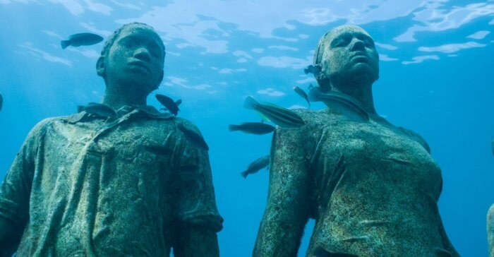 Otherworldy statues at the Grenada Underwater Sculpture Park Credit Howard Clarke