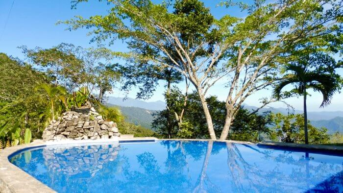 A dreamy view from the pool in Pluma Hidalgo