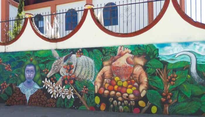 Coffee themed mural in Pluma Hidalgo Oaxaca