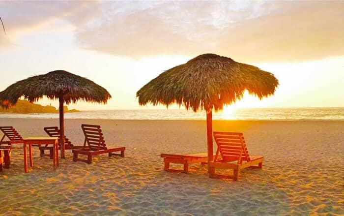 Sunset at La Punta beach in Puerto Escondido, Mexico.