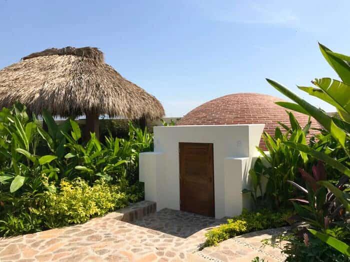 Palapa roof and temazcal spa at Vivo Resorts in Puerto Escondido