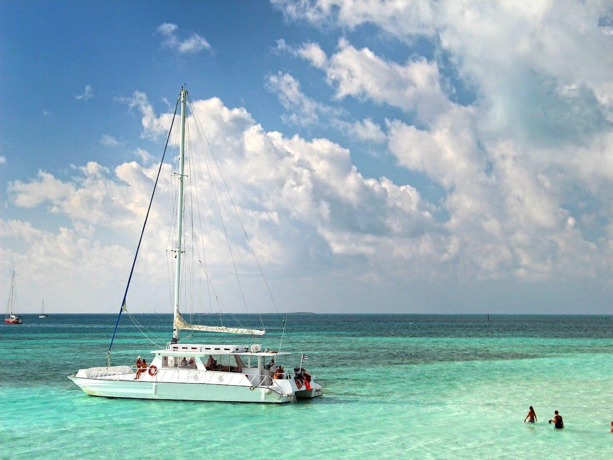 A couple on a romantic catamaran tour.