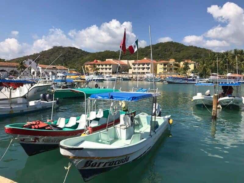 Boats in the marina at Santa Cruz in Huatulco, Oaxaca, Mexico.
