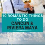 romantic couples in the water and going on a helicopter tour in Cancun Mexico.
