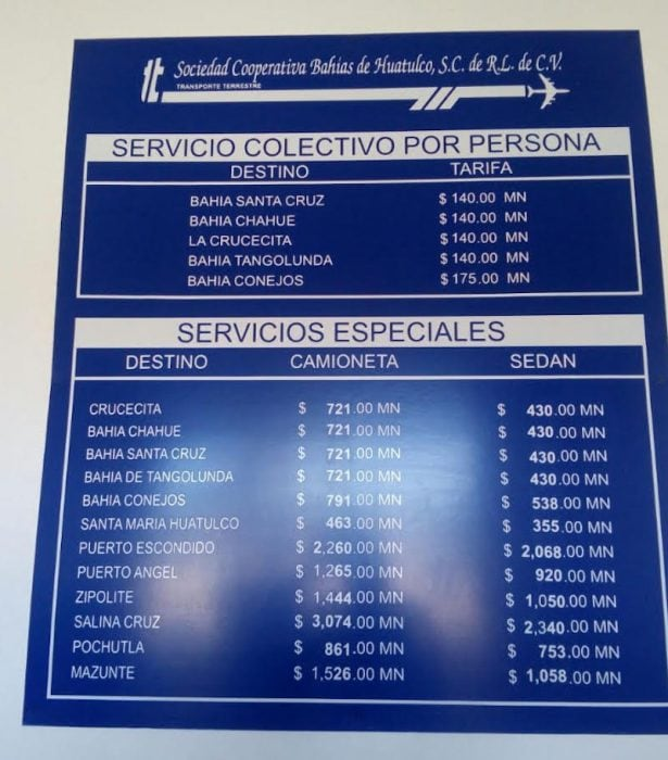 Taxi Prices at Huatulco Airport