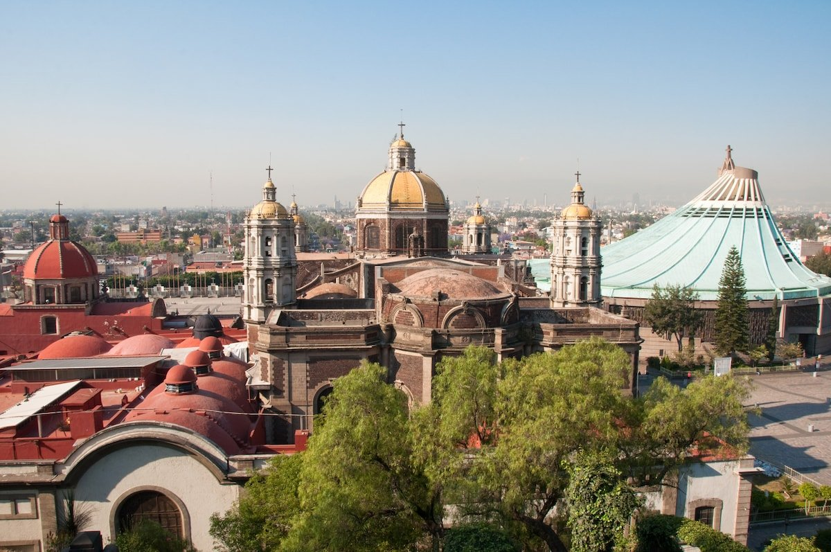 Skyline view of Basilica of Our Lady of Guadalupe in Mexico City.