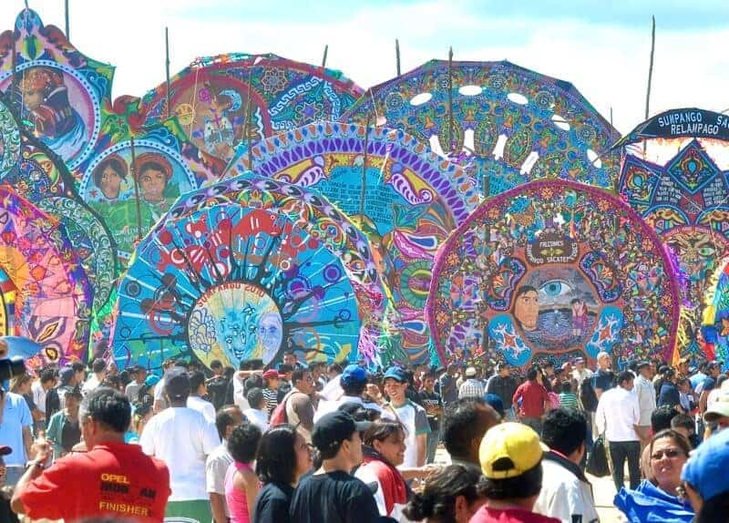 Giant kites at the Sumpango Giant Kite Festival in Guatemala on Day of the Dead.