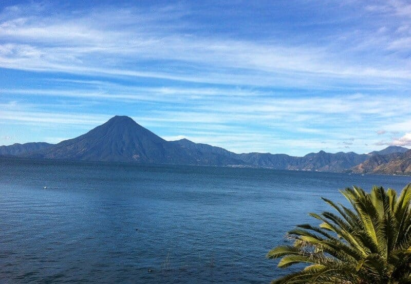 View of Lake Atitlan and the surrounding volcanoes in Guatemala.