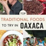 Collage of Oaxacan food in Puerto Escondido with text overlay of Traditional food in Oaxaca for Pinterest.