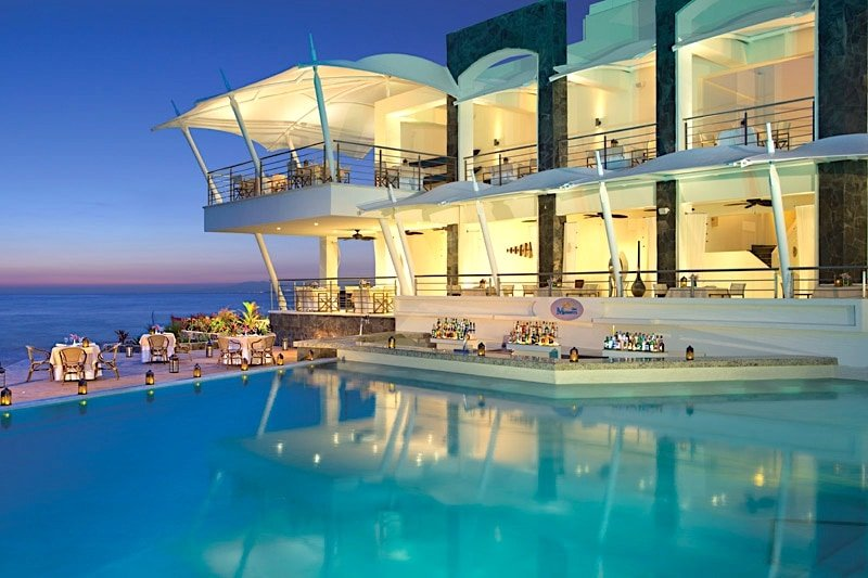 Evening view at Oceana restaurant at Secrets Vallarta Bay.