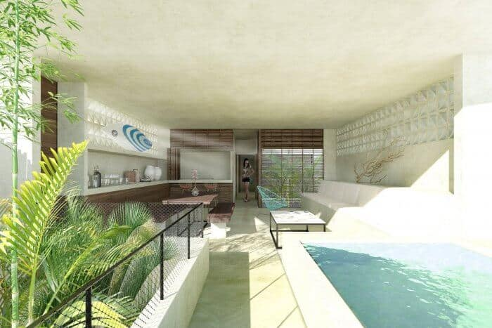 Terrace looking in at La Escondida Pacific Oceanfront Villas and Condos