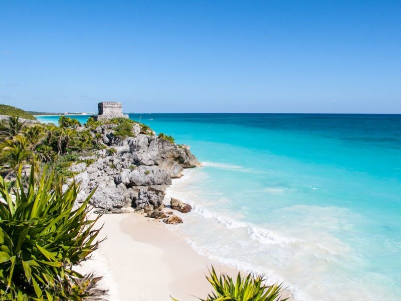 View of archeological ruins in Tulum Mexico.