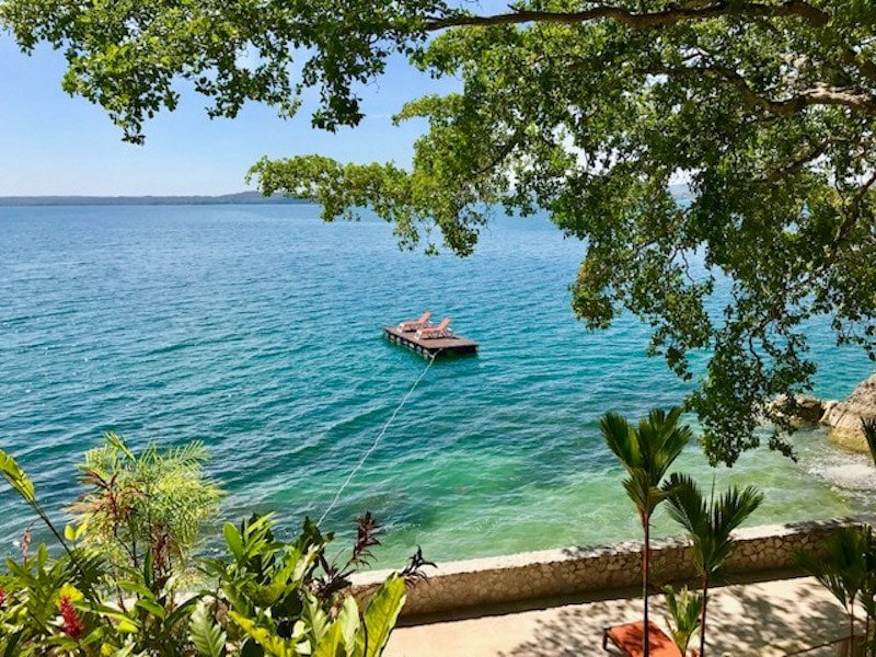 View of Lake Peten Itza at Bolontiku Resort in Flores, Guatemala.