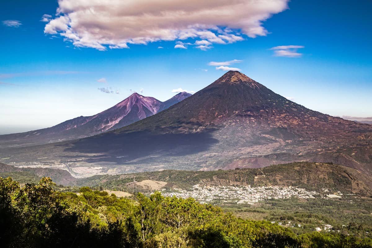 Volcanoes are major landmarks of Guatemala's landscape.