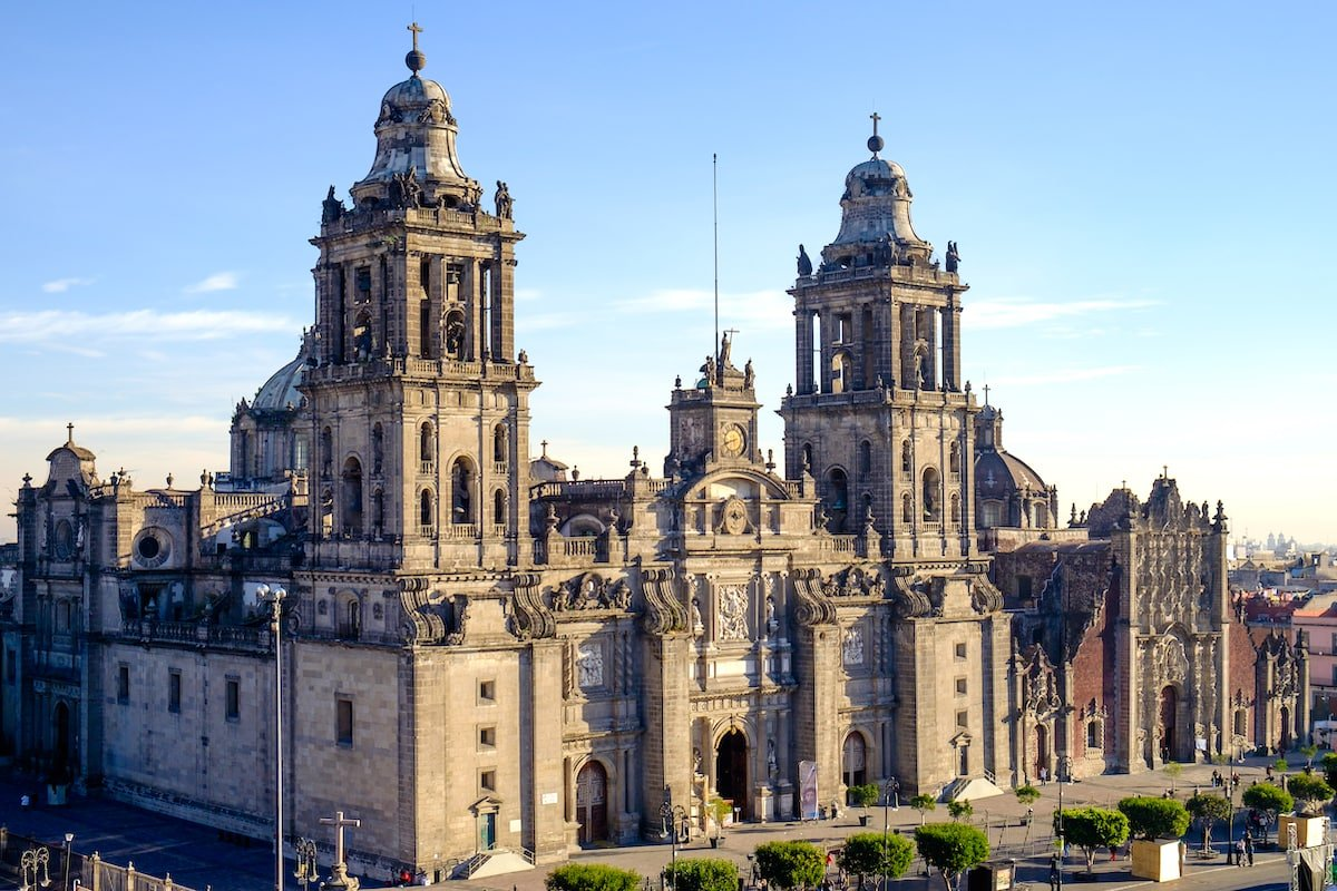 View of Zocalo square and cathedral in Mexico City.