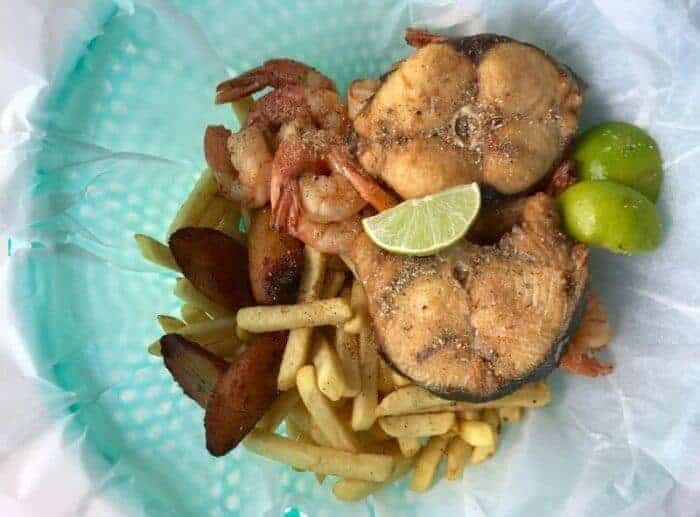 Basket of wahoo fish and shrimp at Zeeerovers Aruba