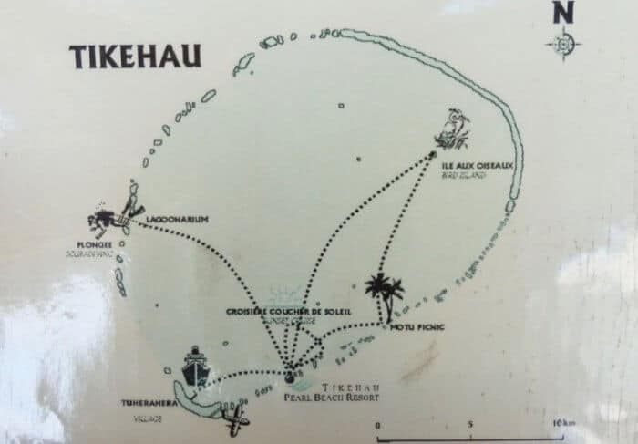 Map of Tikehau French Polynesia