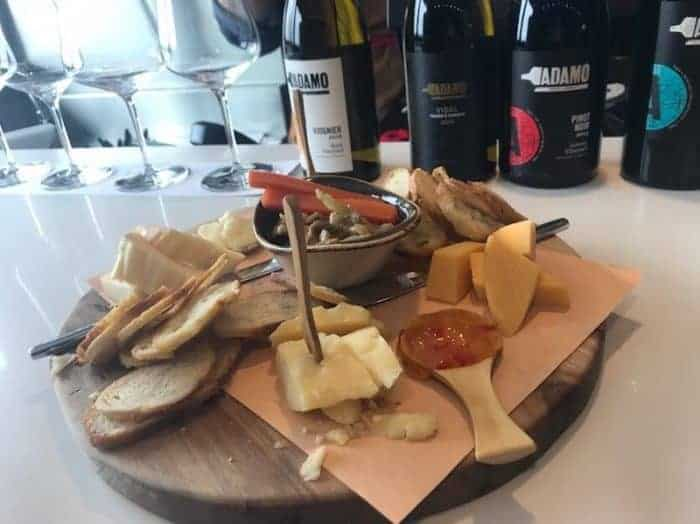 Cheese tray at Adamo Winery