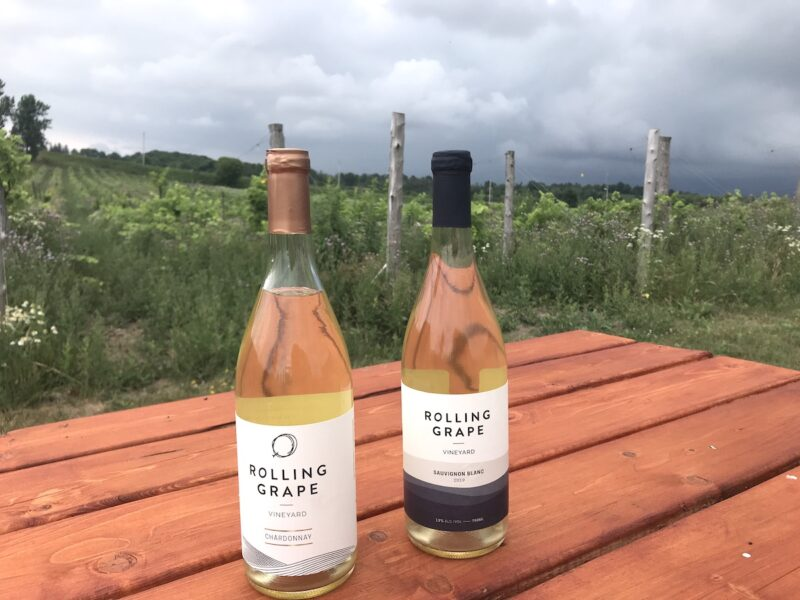 Bottles of white wine at Rolling Grape Vineyard