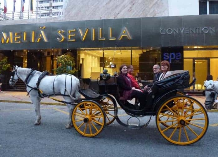 Carriage ride with Luxury Gold in Seville Spain