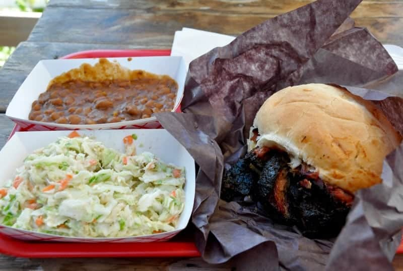 Muddy's Pit BBQ coleslaw, brisket and beans