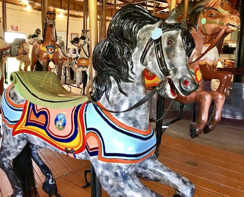 A vintage horse on the Roseneath Carousel