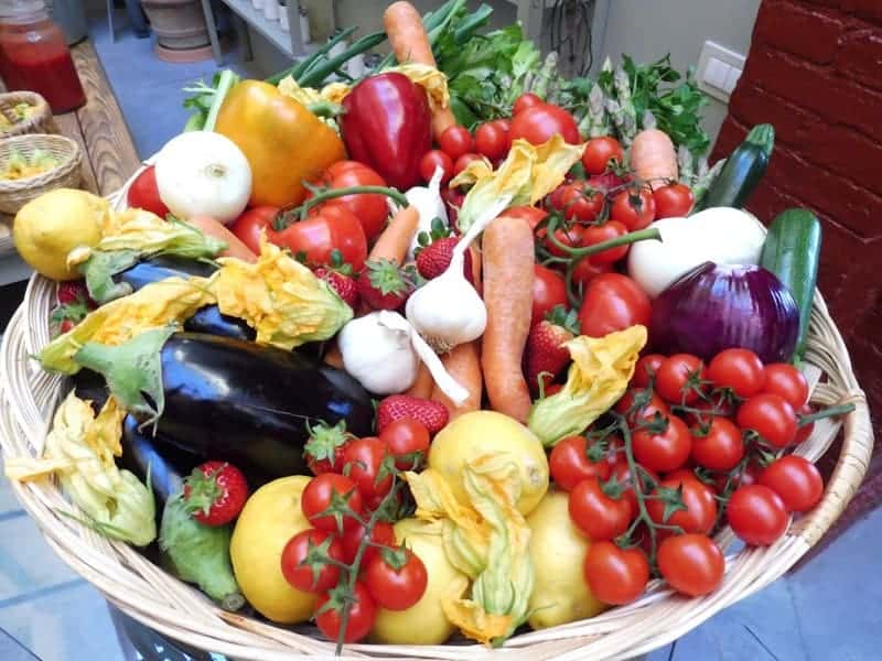 Basket of fresh produce in Tuscany Italy
