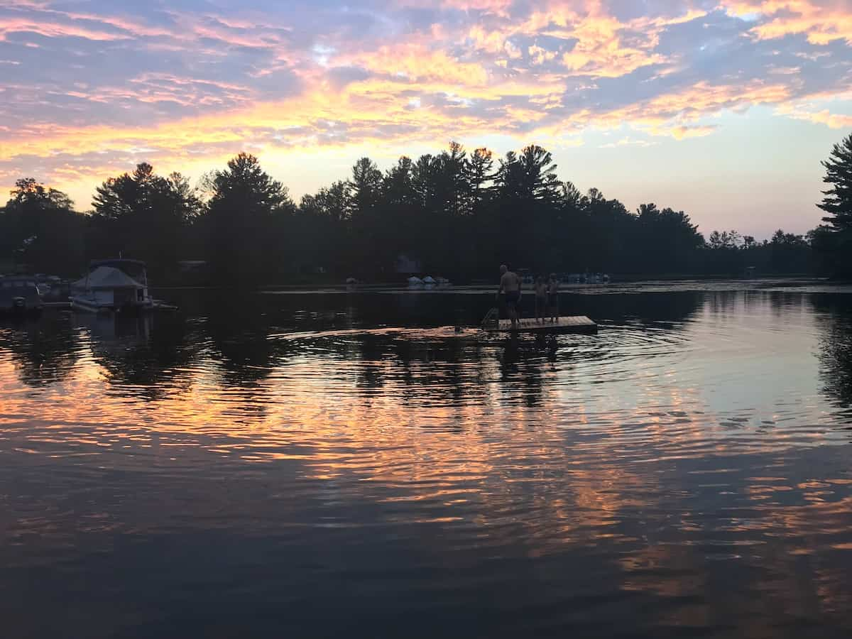 Sunset at Pine Vista Resort on Stoney Lake near Lakefield..