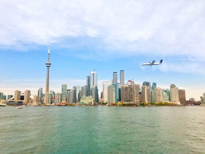 Plane landing at Billy Bishop Toronto City Airport