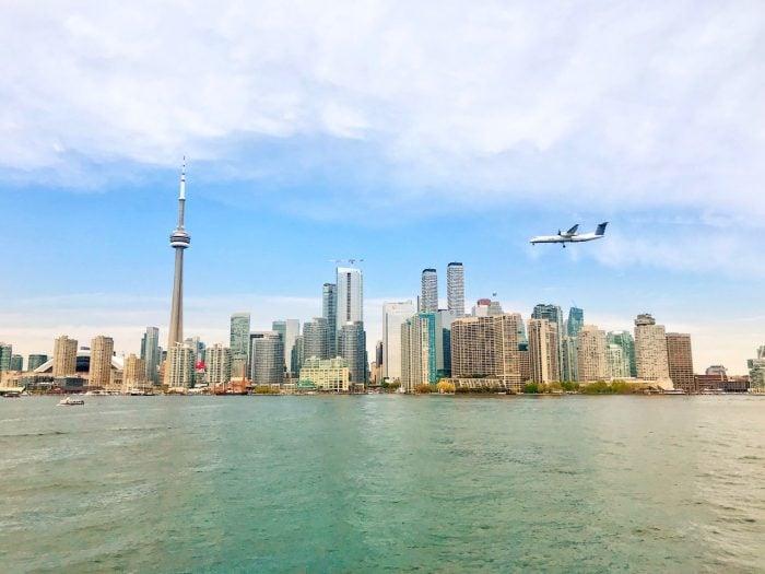 Plane landing at Billy Bishop Toronto City Airport