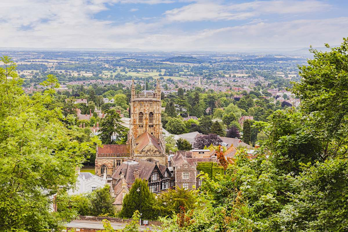 View of Great Malvern priory in Great Malvern, UK.