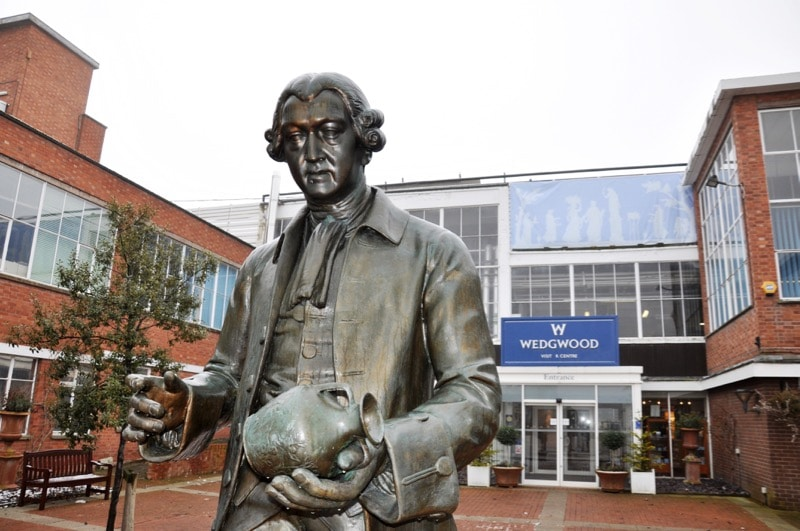 Statue of Josiah Wedgwood founder of Wedgwood at Wedgwood Museum.
