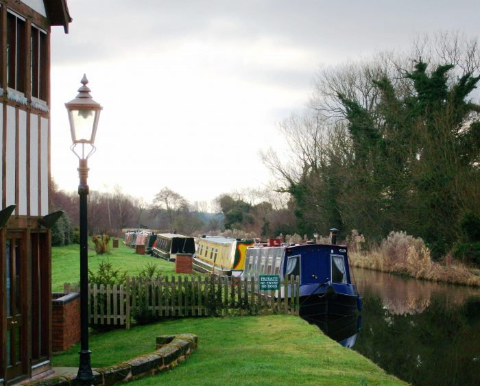 Barges on a canal in the UK.