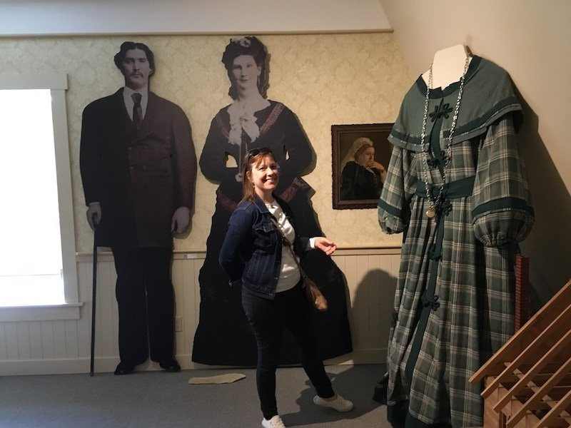 Photo of Anna Swan Giantess and her dress at the museum in Tatamagouche Nova Scotia.