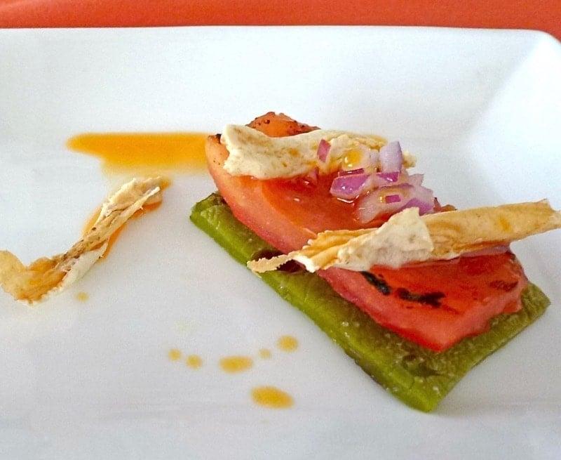 Nopal appetizer served on the menu at Tamarindo Restaurant at Secrets Resort.