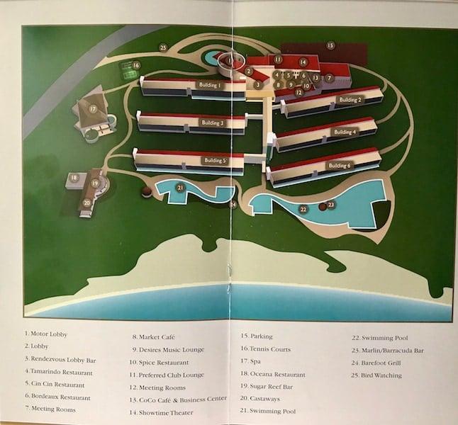 Secrets Huatulco map rooms restaruants and pools
