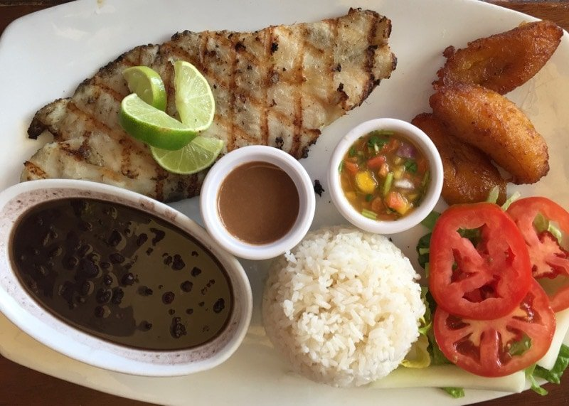 grilled grouper with fresh mango salsa and sweet fried plantain at Cuba's Cookin' in Aruba