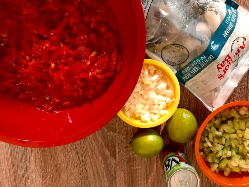Ingredients for shrimp ceviche chapin include fresh tomatoes, onion, lime juice, V-8, shrimp, cilantro and Worcestershire sauce.