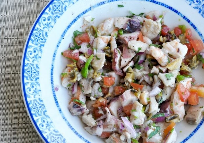 Ceviche Mixto made with raw seafood