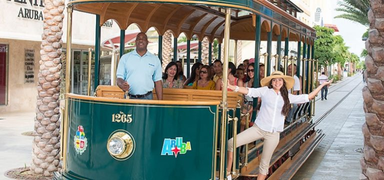 Riding the Aruba Trolley is one of the best free things to do in Aruba Credit Nights Publications