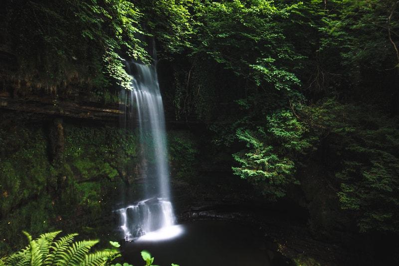 Tall waterfall in a jungle.