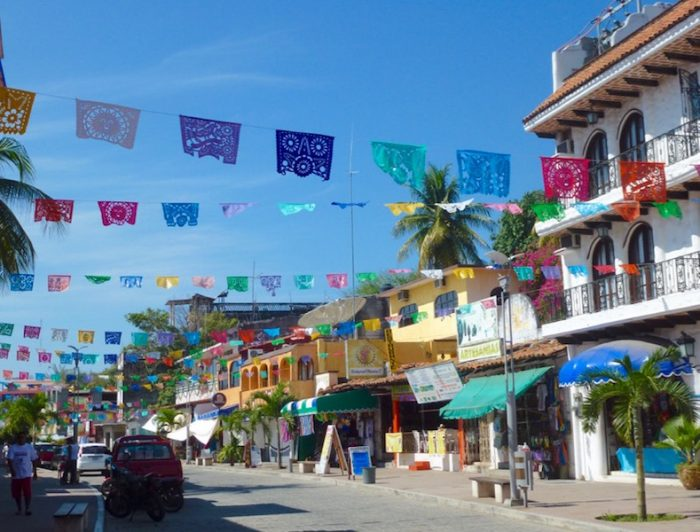 Papel picado on the Adoquin Day of the Dead in Puerto Escondido Oaxaca