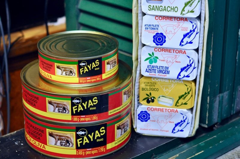 Canned tuna in the market in sao miguel azores