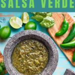 green salsa in a molcajete with text overlay of easy salsa verde