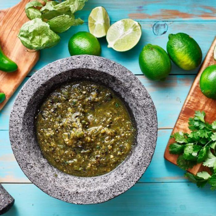 salsa verde in stone molcajete Credit Depositphotos
